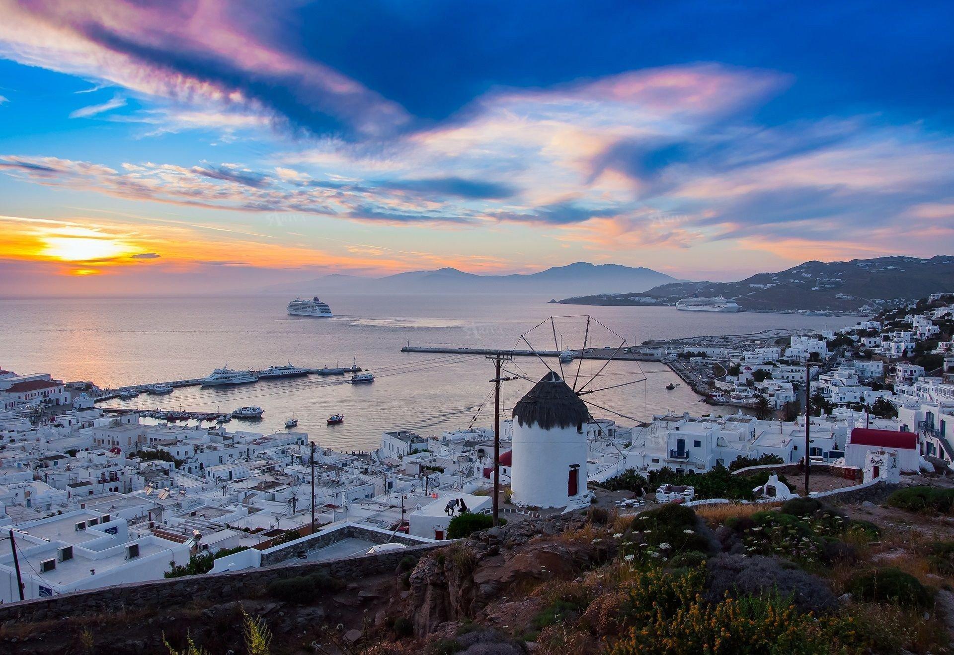Sunset In Mykonos Island