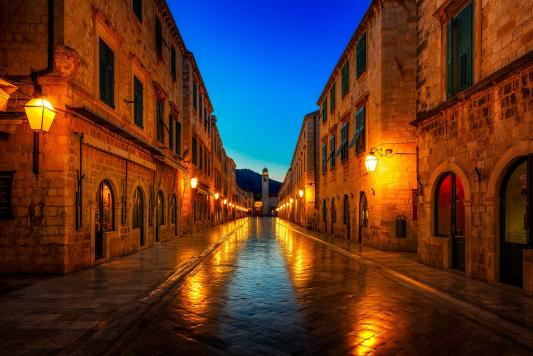 Street At Night Dubrovnik